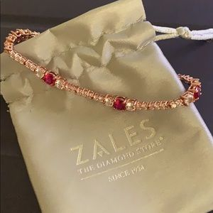 Zales Ruby and White Sapphire Bracelet